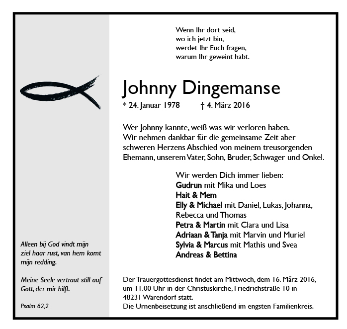 Dingemanse, Johnny