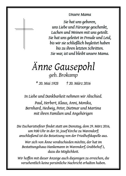 Gausepohl, Aenne