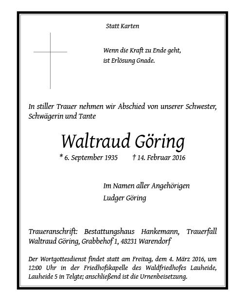 Traueranzeige von Waltraud Göring