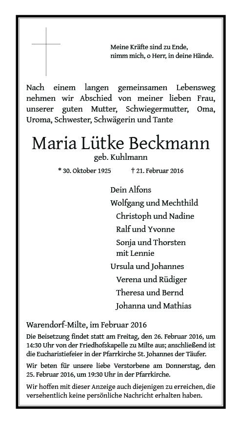Lütke Beckmann, Maria