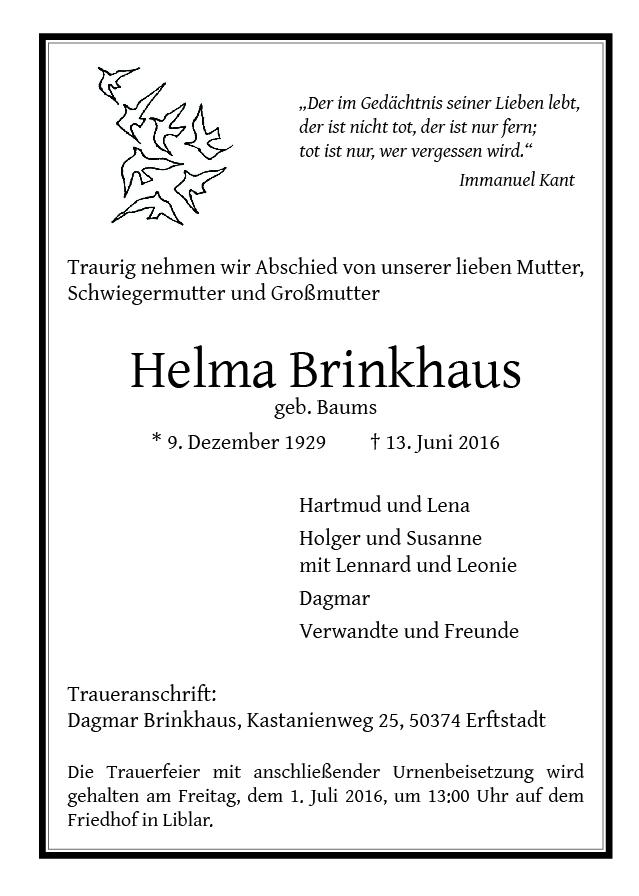 Brinkhaus, Helma