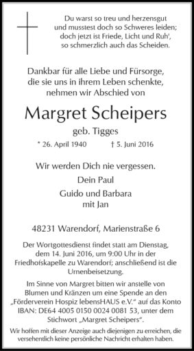 Scheipers, Margret