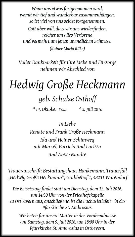 Große Heckmann, Hedwig
