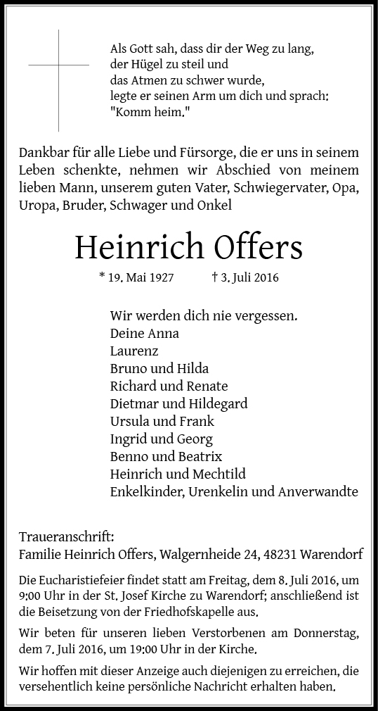 Offers, Heinrich