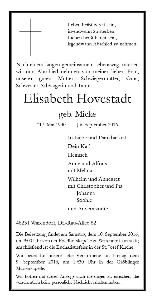 Hovestadt, Elisabeth